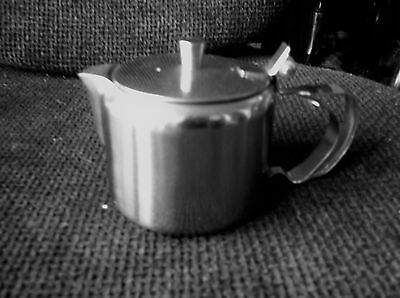 Vintage Small Stainless Steel Teapot Tea For One With Hinged Lid