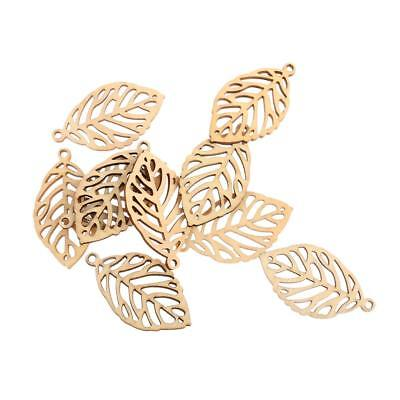 10 Laser Cut Leaves Wood Shapes Wooden Charms for DIY Woodcrafts Decors