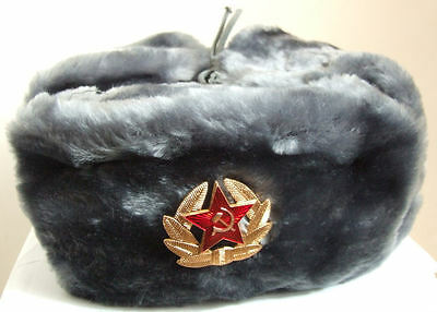 Russian Authentic Ushanka Gray Military Hat W/ Soviet Red Army Badge