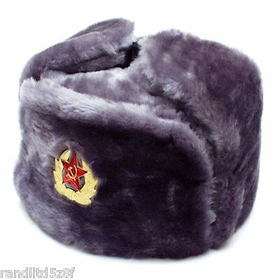 8f71c11e7df49 AUTHENTIC RUSSIAN USHANKA Gray Military Hat w  Soviet Red Army Badge ...