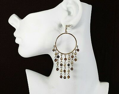 Jewelry Earrings Gold Tone Brown Glass Bead Dangle Large Beautiful Christmas#...