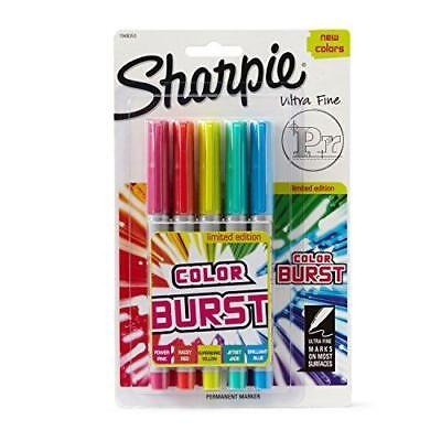 Sharpie Color Burst Permanent Markers, Ultra-Fine Point, Assorted, 5/Pack