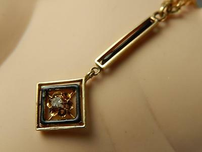 Art Deco10k Gold DIAMOND LAVALIER PENDANT for Necklace Antique Enamel Buttercup