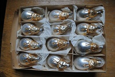 Box Old German Christmas Glass Ornaments,12 Bunnies in egg