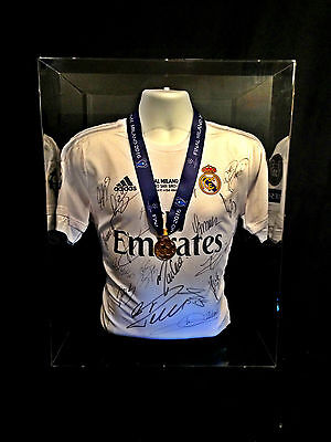 Real Madrid Hand Signed Champions League Final 2016 Milan Shirt & Medal Display