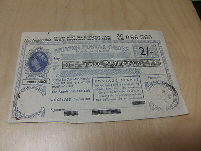 British Postal Order – 2/- Two Shillings 1962