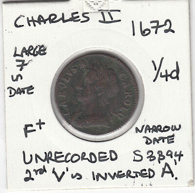1672 Charles II Farthing Spink 3394 UNRECORDED -SPECIAL