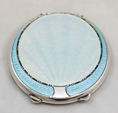 Silver Blue Enamel Compact with Pouch Birmingham 1944 Joseph Gloster Ltd