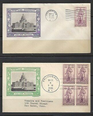 #777 Single and Block of 4 covers with Grandy cachet