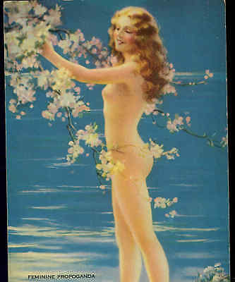 Very Rare..!..mutoscope,nude With Cherry Blossoms,litho,pin Up Girl,mabel Harris