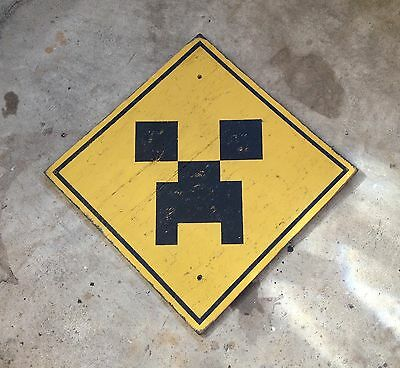 MINECRAFT CREEPER AHEAD wood road sign ART hand painted OLD GLORY SIGN CO