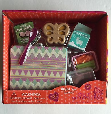 """Our Generation All Set for Lunch Box Bento Accessory Set Fits 18"""" Dolls"""