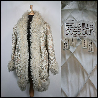 Vintage Bellville Sassoon Rare Afghan Boho Coat Embroidered Fur Uk 14