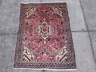 Old Traditional Persian Rug Wool Pink Oriental Hand Made Small Rug 89x67cm