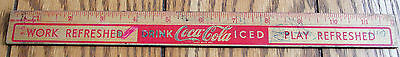 Vintage Coke Wooden Ruler DRINK ICED COCA COLA Work Play Refreshed A Good Rule