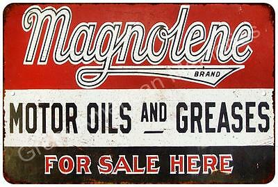 Magnolene Motor Oil & Grease Vintage Look Reproduction Metal Sign 8x12 8122227