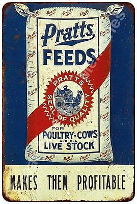 Pratts Poultry Feeds Vintage Reproduction Metal Sign 8x12 8122384