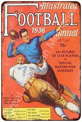 1936 Ilustrated Football Vintage Look Reproduction Metal Sign 8x12 8122481