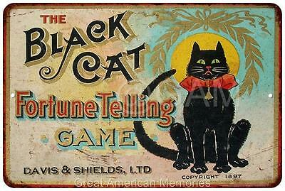 Black Cat Fortune Telling Game Vintage Reproduction Metal Sign 8x12 8121943
