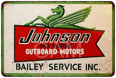 Johnson Outboard Motors Bailey Service Vintage Reproduction 8x12 Sign 8121434