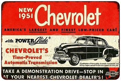 1951 Chevrolet Vintage Look Reproduction Metal Sign 8x12 8121949