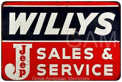 Willys Jeep Sales & Service Vintage Look Reproduction 8x12 Metal Sign 8121292