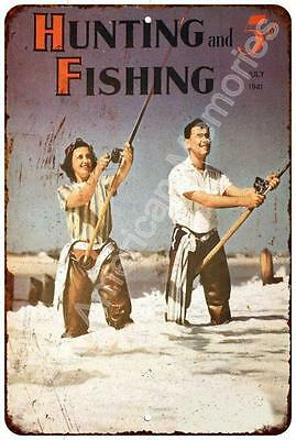 1941 Hunting and Fishing Vintage Look Reproduction Metal Sign 8x12 8122458