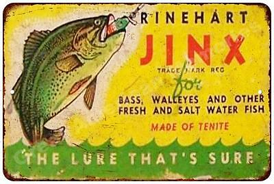 Rinehart Jinx Fishing Lure Vintage Look Reproduction Metal Sign 8x12 8122212
