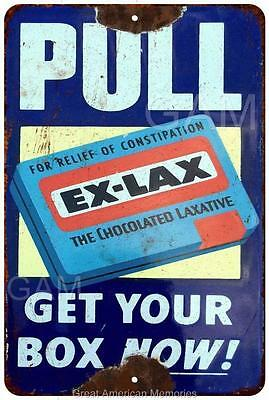 Ex-Lax Chocolated Lacative Pull Plate Vintage Reproduction 8x12 Sign 8121620