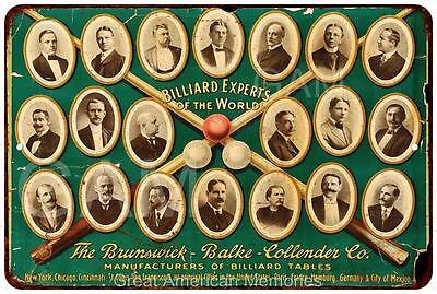 Billiard Experts of the World Vintage Look Reproduction 8x12 Metal Sign 8121492