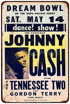 Johnny Cash Concert Poster Vintage Look Reproduction Metal Sign 8 x 12 8120448