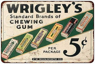 Wrigley's Brands of Chewing Gum 5? Vintage Look Reproduction 8x12 Signs 8121095