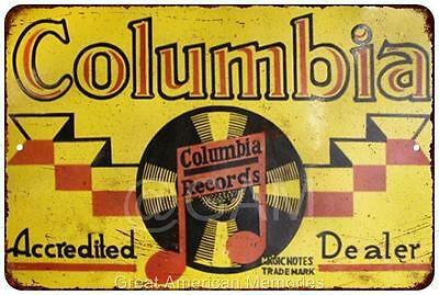 Columbia Records Dealer Vintage Look Reproduction Metal Sign 8x12 8121989