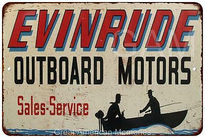 Evinrude Outboard Motors Vintage Look Reproduction Metal Sign 8 x 12 8120081