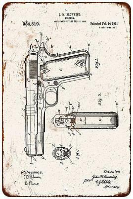 1911 Browning Pistol Vintage Look Reproduction 8x12 Metal Sign 8120982