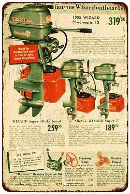 1955 Wizard Outboard Motors Vintage Look Reproduction Metal Sign 8 x 12 8120232