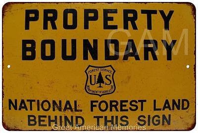 Property Boundary National Forest Vintage Reproduction Sign 8 x 12 8120077