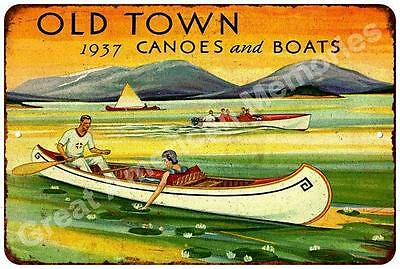 1937 Old Town Canoes and  Boats Vintage Reproduction Metal Sign 8x12 8122520