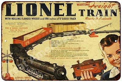 1942 Lionel Wartime Freight Train Vintage Reproduction Metal Sign 8x12 8123101