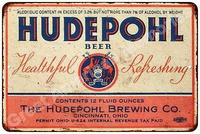 Hudepohl Beer Vintage Look Reproduction Metal Sign 8x12 8122722