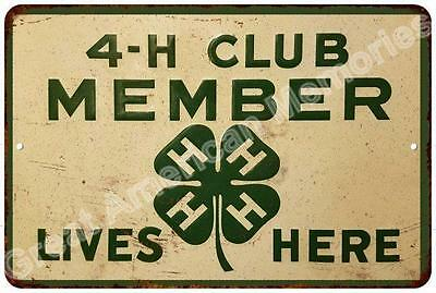 4-H Member Lives Here Vintage Look Reproduction Metal Sign 8x12 8123650