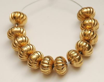 VINTAGE GOLD Plated Fluted Melon Beads_Set of 12 Pcs._8.6 x 12.7mm
