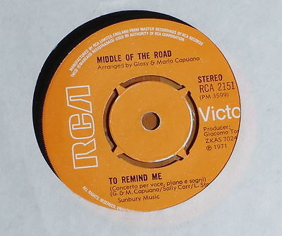"""'To Remind Me' MIDDLE OF THE ROAD 7"""" 7 inch vinyl single RCA 2151"""