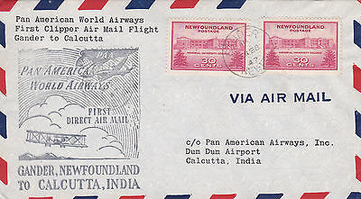 1947 Newfoundland Pawa First Flight Cover Posted From Newfoundland To India 24*