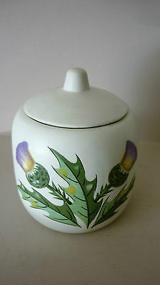 H J Wood Ceramic Lidded Jam Pot with hand painted thistle motif.
