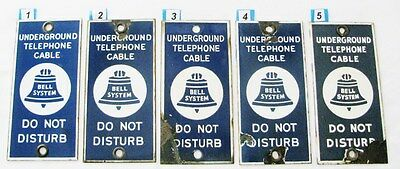 (1) BELL SYSTEM UNDERGROUND TELEPHONE CABLE  / DO NO DISTURB - Porcelain Sign