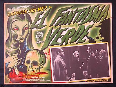 SHERLOCK HOLMES The Woman in Green GREAT LOBBY CARD ART BY AGUIRRE TINOCO 1945