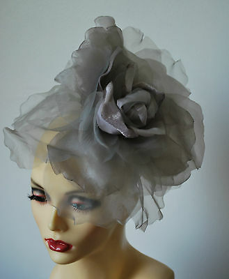 """Large 12"""" Diameter Silk Flower Fascinator In Silver & Lilac By Hats2Go No Return"""