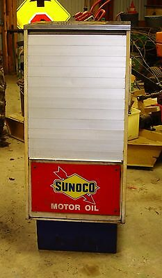 Sunoco SELOIL Oil Display Cabinet Antique Gas Service Station Advertising Sign o