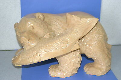 Wooden Bear caught a salmon only clear AINU JAPAN 104